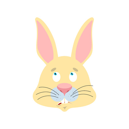 Rabbit confused emoji oops face avatar. Hare perplexed emotions. Animal surprise. Easter Vector illustration