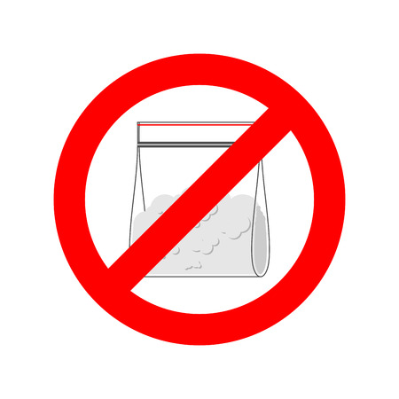 Stop Drugs. Cocaine plastic bag isolated. Ban Red prohibitory sign. Vector illustration