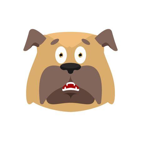 Dog scared OMG emotion. Pet Oh my God emoji. Frightened bulldog. Vector illustration