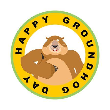 Groundhog day emblem. Groundhog thumbs up and winks. Woodchuck happy emoji. Vector illustration