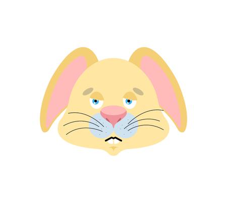 Rabbit sad emoji. Hare sorrowful emotions. Animal dull. Vector illustration Vectores