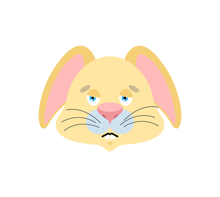 Rabbit sad emoji. Hare sorrowful emotions. Animal dull. Vector illustration 向量圖像