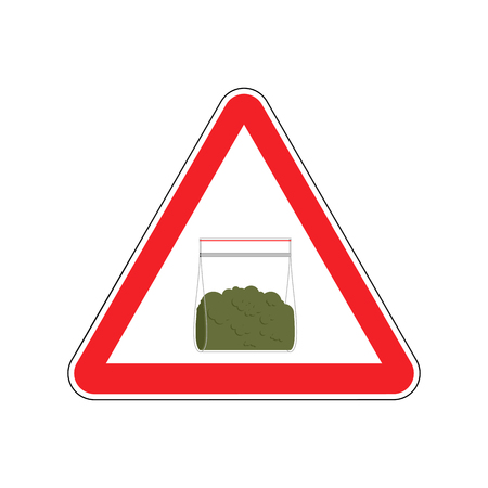 Attention sign drugs. Marijuana plastic bag isolated. Vector illustration.