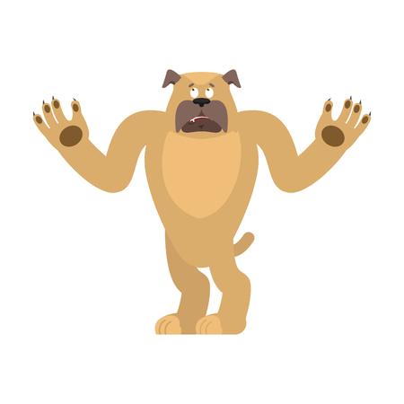 Dog confused emoji oops. Pet perplexed emotions. bulldog surprise. Vector illustration.