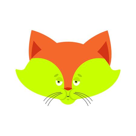 Fox Sick Misselijkheid emoji. Dierlijk gezicht Misselijk. Vector illustratie.