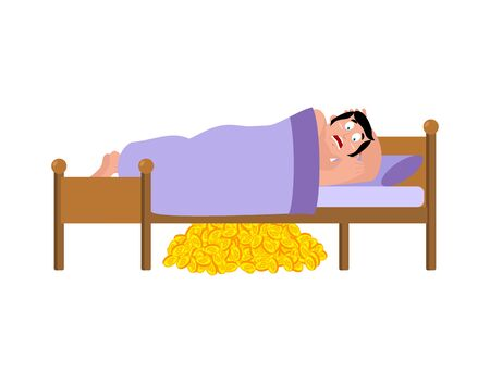 Frightened Man sleeps on bed. Bitcoins under bed. had terrible dream. Vector illustration.