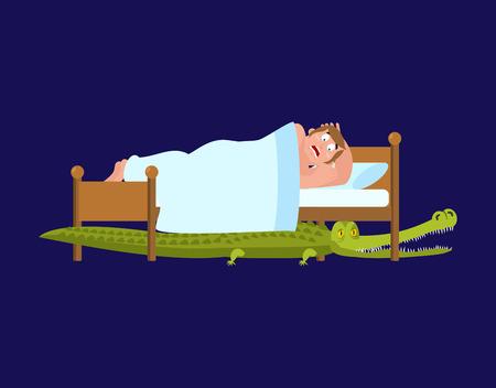 Krokodil Unter Dem Bett Erschrockener Mann Schlaft Auf Bett