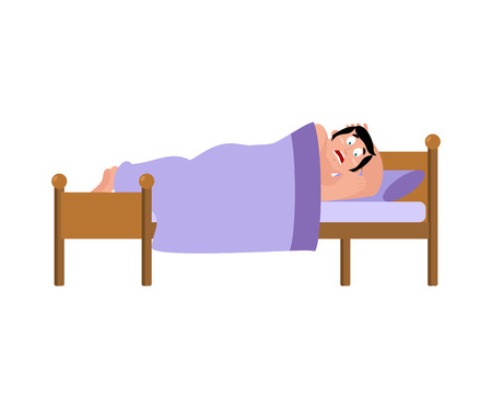 frightened Man sleeps on bed. had terrible dream. Vector illustration.  Ilustracja