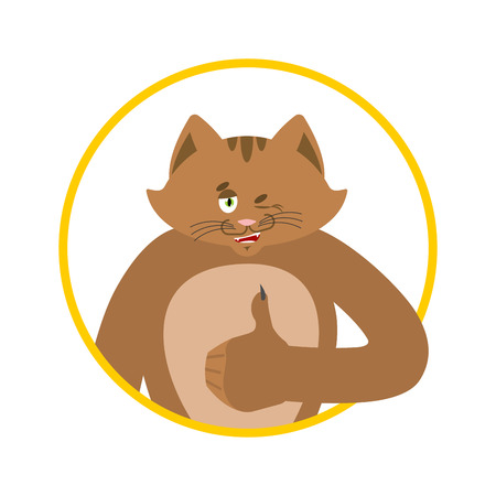 Cat thumbs up and winks. Pet happy emoji. Kitty vector illustration.