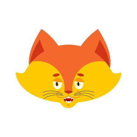 Fox happy emoji. Wild beast merry emotions. she-fox Joyful. Vector illustration