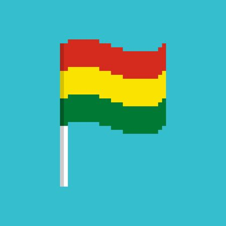 Bolivia Pixel flag. Pixelated banner Bolivian. political bit icon. Vector illustration 向量圖像