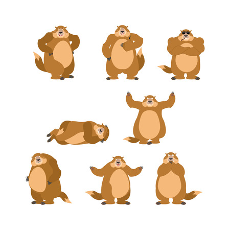 Groundhog set poses and motion. Woodchuck happy and yoga. Marmot sleeping and angry. guilty and sad. Groundhog day Vector illustration Illustration