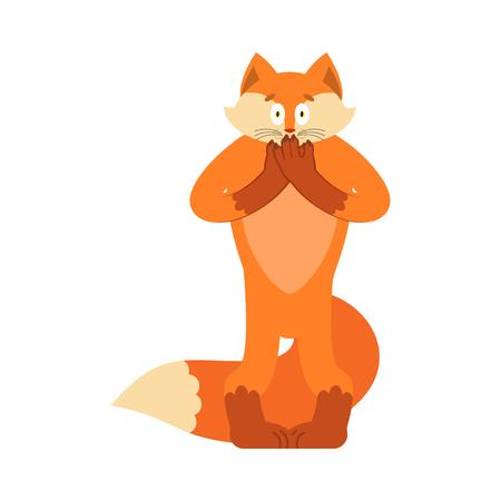 Fox scared OMG. Animal oh my god emotion. Frightened she-fox. Vector illustration.