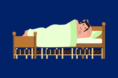 Mining farm under bed. Extraction of crypto-currency. Man is asleep. Vector illustration.  Illustration