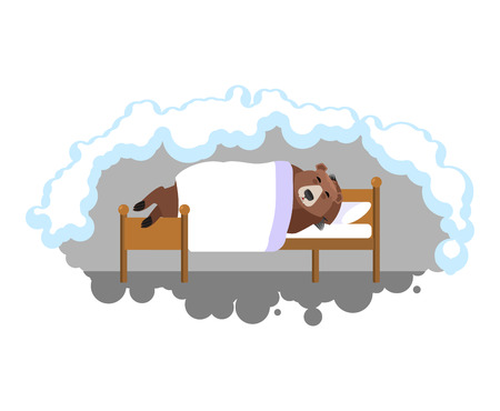 Bear sleeps on bed in den. Grizzly asleep. Wild beast dormant. Vector illustration Ilustrace