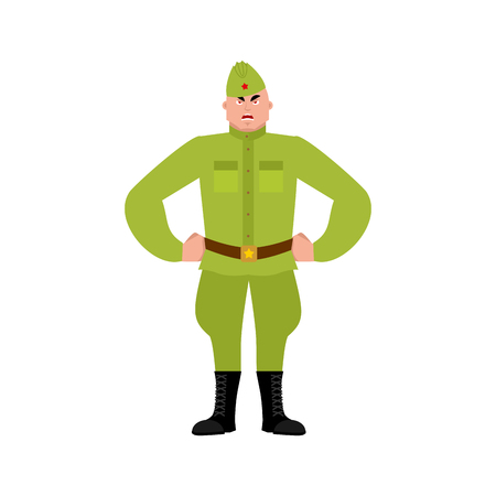 Soviet soldier angry emoji. Retro Russian warrior evil emotions avatar. aggressive Military in Russia. Illustration for 23 February. Defender of Fatherland Day. Army holiday for Russian Federation
