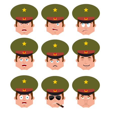 Russian Officer set emoji avatar. sad and angry face. guilty and sleeping. Soldier Smoking cigar emotion face. sick Military in Russia. Illustration for 23 February. Defender of Fatherland Day. Army holiday for Russian Federation. Illustration