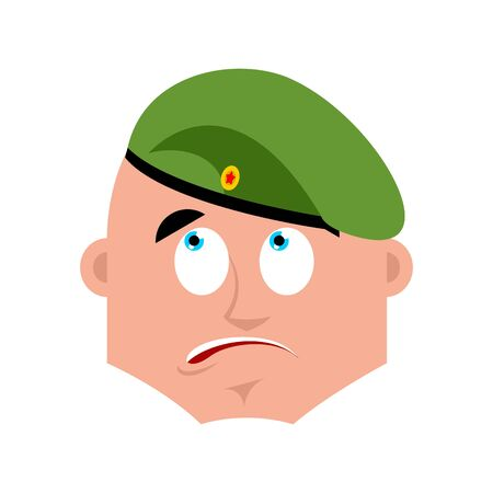 Russian soldier confused emoji oops. Airborne troops perplexed emotions. Paratrooper Military in Russia surprise. Illustration for 23 February. Defender of Fatherland Day. Army holiday for Russian Federation.