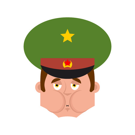 Russian Officer Sick Nausea emoji. Soldier face Nauseating emotion avatar. Military in Russia. Illustration for 23 February. Defender of Fatherland Day. Army holiday for Russian Federation