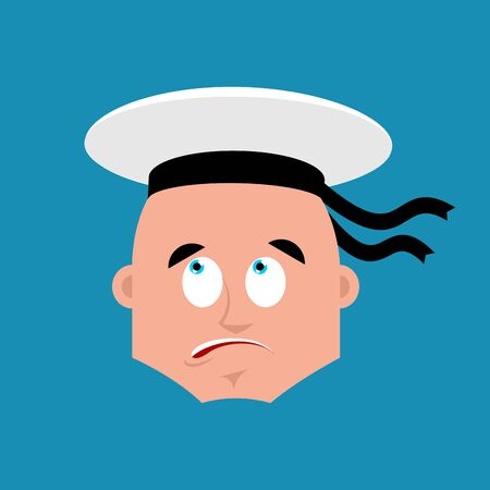 Sailor confused emoji oops. Russian soldier seafarer perplexed emotions. Seaman Military in Russia surprise. Illustration for 23 February. Defender of Fatherland Day. Army holiday for Russian Federation.