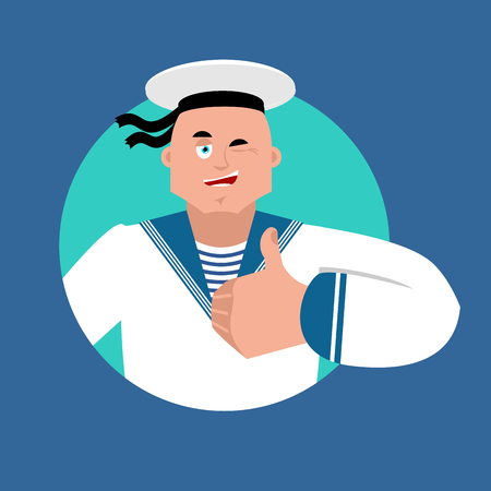 Sailor thumbs up and winks. Russian soldier seafarer happy emoji. Seaman Military in Russia Joyful. Illustration for 23 February. Defender of Fatherland Day. Army holiday for Russian Federation. Ilustrace