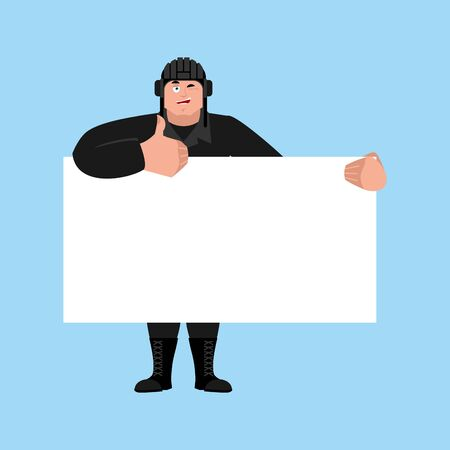 Tank man holding banner blank. Russian soldier and white blank. Tank man Military in Russia thumb up and winks joyful emotion. Illustration for 23 February. Defender of Fatherland Day. Army holiday for Russian Federation