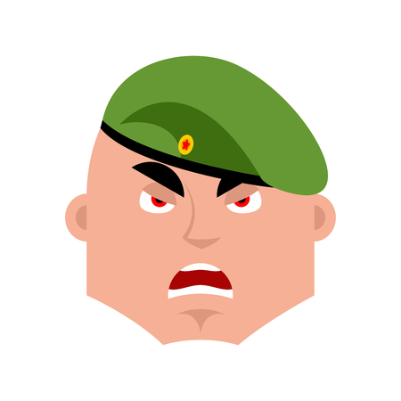 Russian soldier angry emoji. Airborne troops evil emotions avatar. Paratrooper Military in Russia aggressive. Illustration for 23 February. Defender of Fatherland Day. Army holiday for Russian Federation