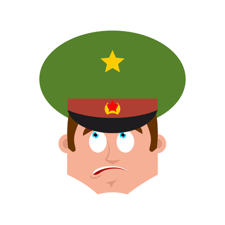 Russian Officer confused emoji. Soldier oops face avatar. perplexed emotions Military in Russia. Illustration for 23 February. Defender of Fatherland Day. Army holiday for Russian Federation Illustration