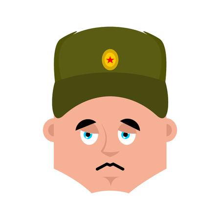 Russian soldier sad emoji. Warrior sorrowful emotions. dull Military in Russia. Illustration for 23 February. Defender of Fatherland Day. Army holiday for Russian Federation