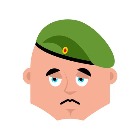 Russian soldier sad emoj. Airborne troops sorrowful emotions. Paratrooper Military in Russia dull. Illustration for 23 February. Defender of Fatherland Day. Army holiday for Russian Federation