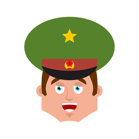 Russian Officer happy emoji. Soldier merry emotion avatar. Joyful Military in Russia. Illustration for 23 February. Defender of Fatherland Day. Army holiday for Russian Federation Ilustrace