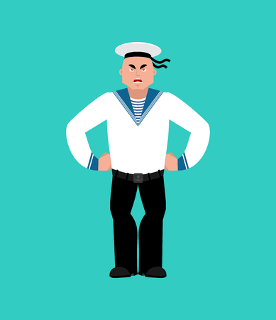 Sailor angry. Russian soldier seafarer evil. Seaman Military in Russia aggressive. Illustration for 23 February. Defender of Fatherland Day. Army holiday for Russian Federation Illustration