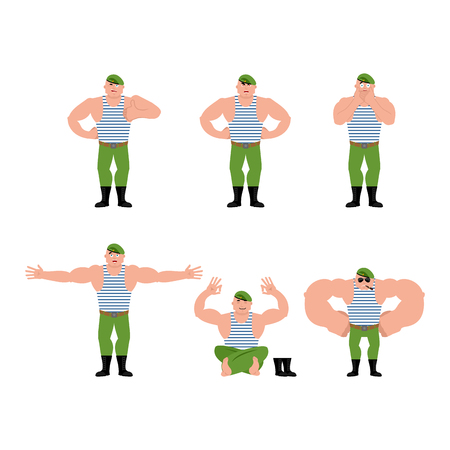 Russian soldier set poses and motion. Airborne troops happy and yoga. Paratrooper Military in Russia sleeping and angry. guilty and sad. Illustration for 23 February. Defender of Fatherland Day. Army holiday for Russian Federation Illustration