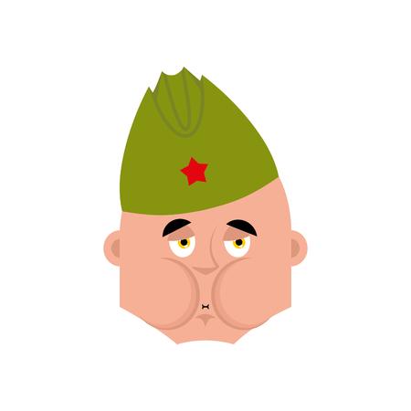 Sovjet-soldaat Sick Nausea emoji. Retro Russisch krijgergezicht Nauseating. Militair in Rusland. Illustratie voor 23 februari. Verdediger van Vaderdag. Leger vakantie voor Russische Federatie