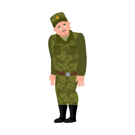 Russian soldier sad. Warrior sorrowful. dull Military in Russia. Illustration for 23 February. Defender of Fatherland Day. Army holiday for Russian Federation  Illustration