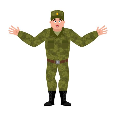 Russian soldier happy. Warrior merry. Joyful Military in Russia. Illustration for 23 February. Defender of Fatherland Day. Army holiday for Russian Federation