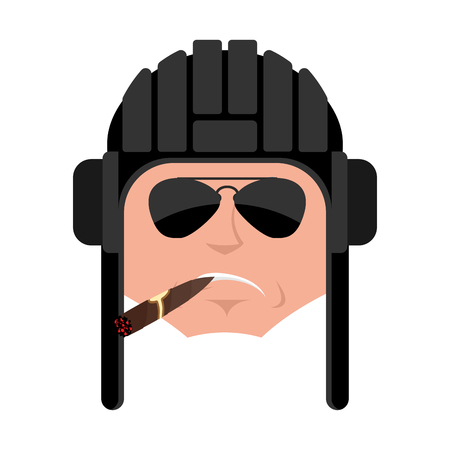 Tankman Cool serious avatar emoji. Russian soldier smoking cigar emotion avatar. Strict Tankman Military in Russia. Illustration for 23 February. Defender of Fatherland Day. Army holiday for Russian Federation
