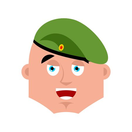 Russian soldier happy emoji. Airborne troops merry emotion avatar. Paratrooper Military in Russia Joyful. Illustration for 23 February. Defender of Fatherland Day. Army holiday for Russian Federation Illustration