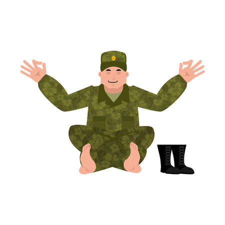 Russian soldier yoga. Warrior yogi. Relaxation and meditation Military in Russia. Illustration for 23 February. Defender of Fatherland Day. Army holiday for Russian Federation