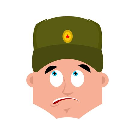 Russian soldier confused emoji oops. Warrior perplexed emotions. surprise Military in Russia. Illustration for 23 February. Defender of Fatherland Day. Army holiday for Russian Federation Illustration