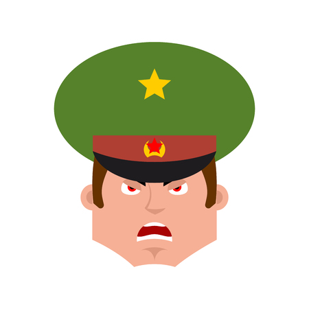 Russian Officer angry emoji. Soldier evil emotions avatar. aggressive Military in Russia. Illustration for 23 February. Defender of Fatherland Day. Army holiday for Russian Federation