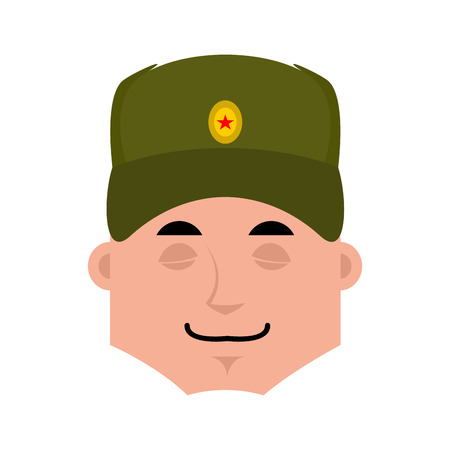 Russian soldier sleeping emoji. Warrior asleep emotions. dormant Military in Russia. Illustration for 23 February. Defender of Fatherland Day. Army holiday for Russian Federation