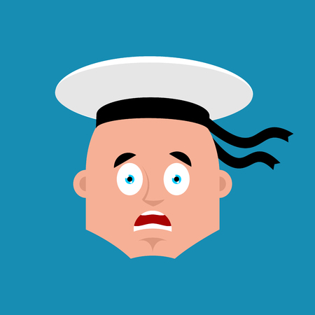 Sailor scared OMG emoji. Russian soldier seafarer Oh my God emotion avatar. Frightened Seaman Military in Russia. Illustration for 23 February. Defender of Fatherland Day. Army holiday for Russian Federation