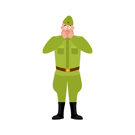 Soviet soldier scared OMG. Retro Russian warrior Oh my God emoji. Frightened Military in Russia.