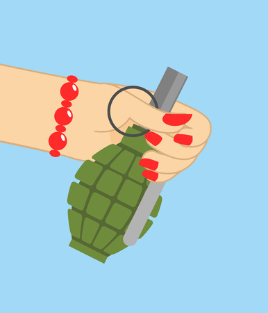 February 23. Woman hand giving Grenade. Traditional gift for men on Day of Defender of Fatherland in Russia.