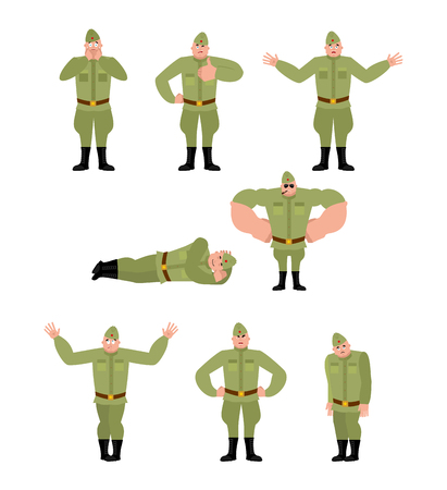 Soviet soldier set poses. Retro Russian warrior happy and yoga. sleeping and angry Military in Russia. guilty and sad. Illustration for 23 February. Defender of Fatherland Day. Army holiday for Russian Federation