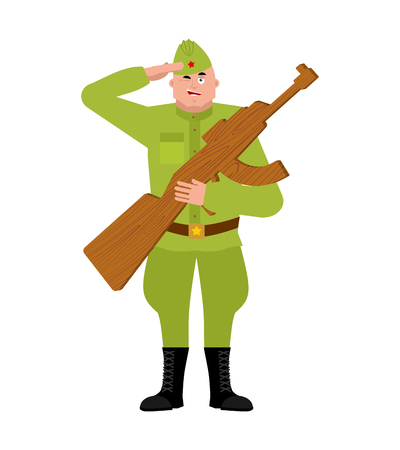 Russian soldier and Wood gun toys. Military holiday in Russia. Illustratioin for 23 February. Defender of Fatherland Day Illustration