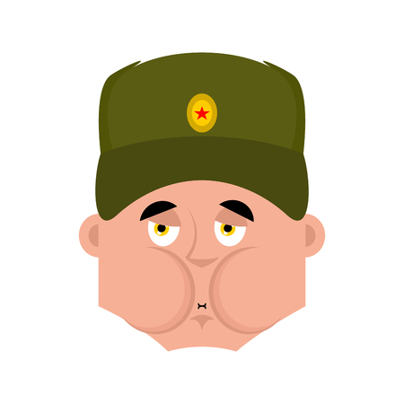 Russian soldier Sick Nausea emoji. Warrior Nauseating. Sad Military in Russia. Illustration for 23 February. Defender of Fatherland Day. Army holiday for Russian Federation  Illustration