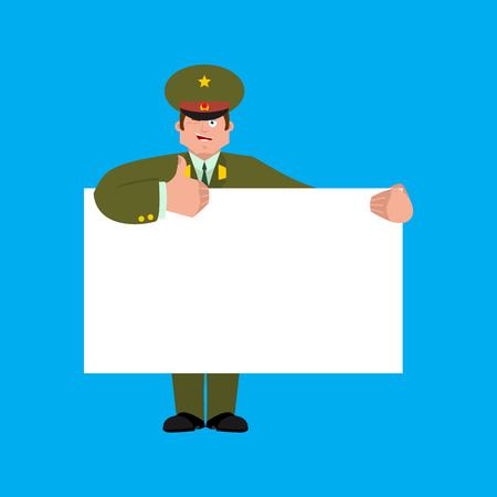 Russian Officer holding banner blank. Soldier and white blank. thumb up and winks joyful emotion Military in Russia. Illustration for 23 February. Defender of Fatherland Day. Army holiday for Russian Federation