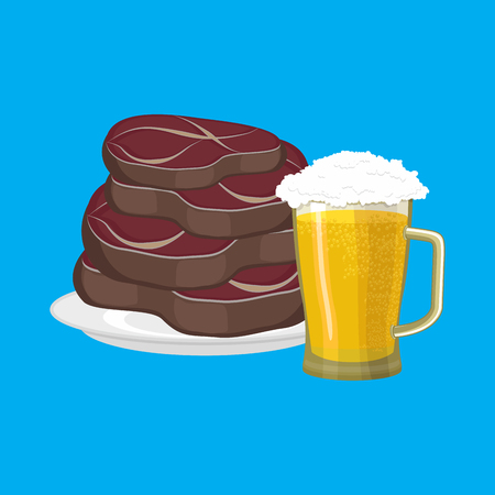 Steak and mug of beer. Fried Meat and alcohol Vector illustration